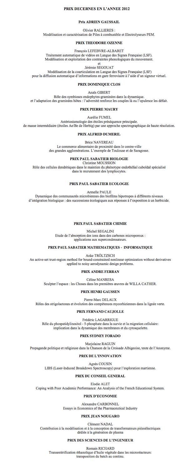 Attribution des Prix en 2012